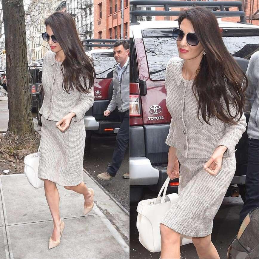 «Классика всегда беспроигрышна»: Амаль Клуни вышла в строгом твидовом костюме