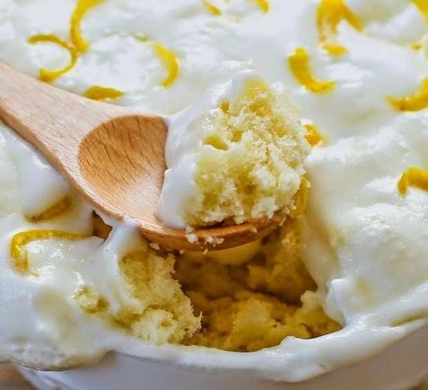 Лимонный пирог в кружке из микроволновки